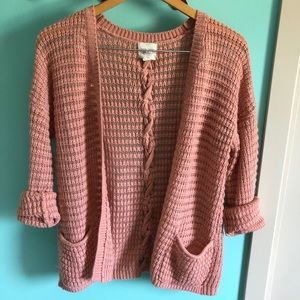 VTG Style Pink Knit Cardigan Sweater